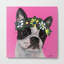 Boston Terrier with Flower Crown Art, Dog with flower crown Metal Print