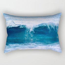 Blue Ocean Wave Crashing to the Beach Rectangular Pillow