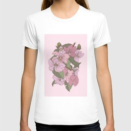 Faded - Dusk Pink Crabapple Flower Blossom T-shirt