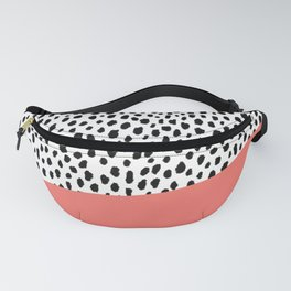 Dalmatian Spots with Coral Stripe (Pantone Living Coral) Fanny Pack