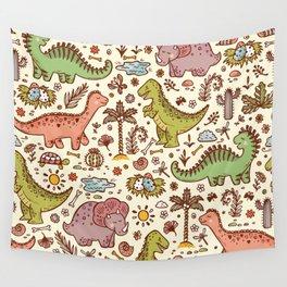 Extinct animals. Prehistoric Reptiles. Cute Cartoon Dinosaur vintage Seamless pattern. Hand drawn doodle Dinosaurs: Tiranossauro Rex, Triceratops, Stegosaurus, Diplodocus and Plants Wall Tapestry