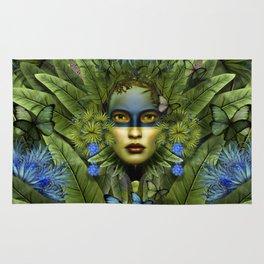 """Tropical green and indigo jungle Woman"" Rug"