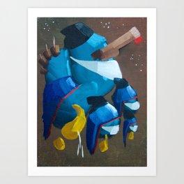 Three Blues Art Print