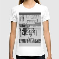 jane austen T-shirts featuring Jane Austen Library by KimberosePhotography