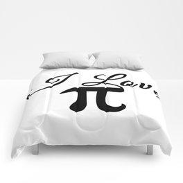 I Love Pi Calligraphy Comforters
