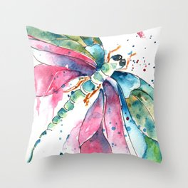 Vibrant Dragonfly Throw Pillow