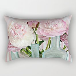 Peonies Shabby Chic Cottage Pink Aqua Peony Bottles Art Print Home Decor Rectangular Pillow