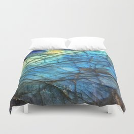 Royal Labradorite Crystal Agate Gemstone Print Duvet Cover