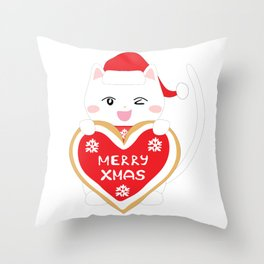 Happy Cat with xmas cookie Throw Pillow