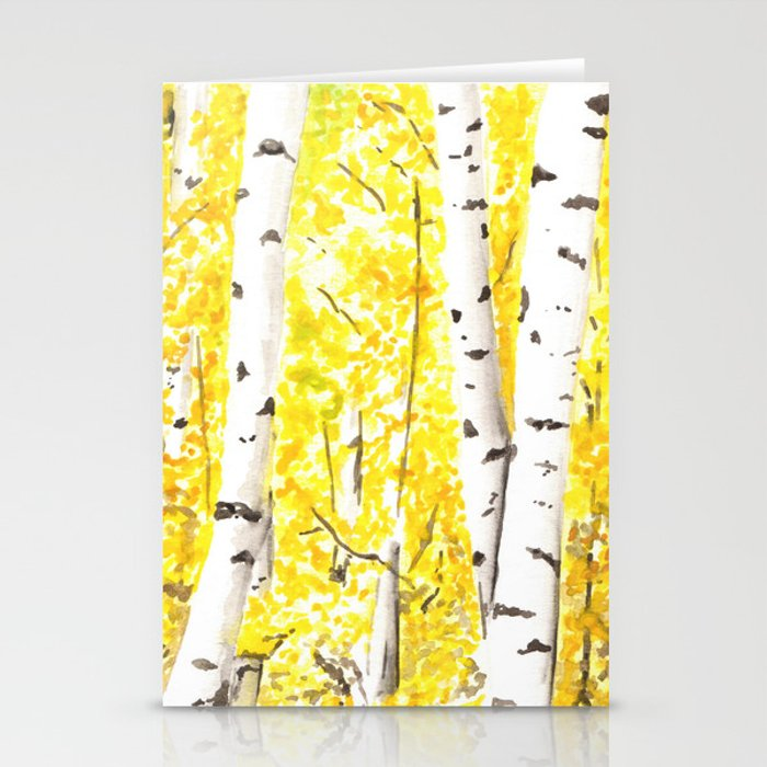Yellow Aspen Trees Watercolor Art Painting Yellow Birches Wall Hanging Wall Art Stationery Cards By Ahockenberry