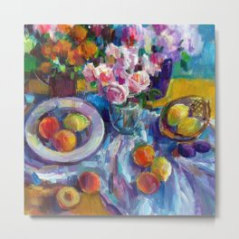 Still Life with Fruits and Flowers Metal Print
