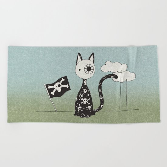 Just a Pirate Cat Beach Towel
