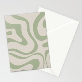 Liquid Swirl Abstract Pattern in Almond and Sage Green Stationery Cards