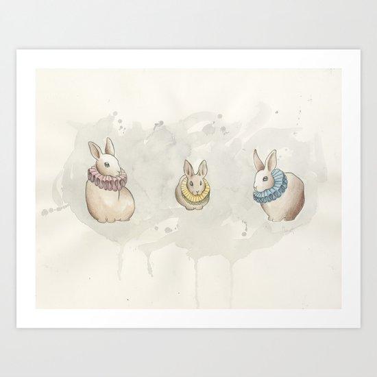 Rabbits in Ruffs Art Print