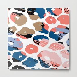 Pastel pink coral navy blue hand painted abstract animal print Metal Print