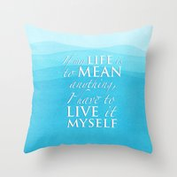 percy jackson Throw Pillows featuring Live it myself - book quote from Percy Jackson and the Olympians by book quay