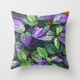 Colorful Leaves on Hiking Forest Path Throw Pillow