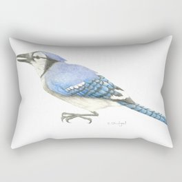 Blue Jay Study in Colored Pencils Rectangular Pillow