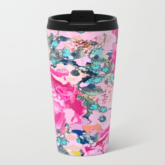 Pink floral work with some turquoise and yellow details Metal Travel Mug