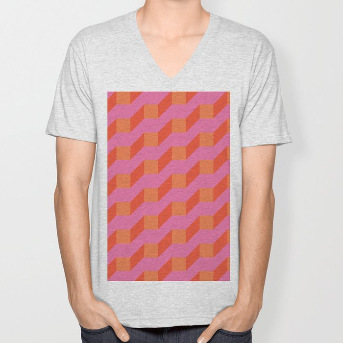 Retro geometry bright pattern no10 Unisex V-Neck