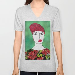 Poinsettia at the Holiday Party Unisex V-Neck