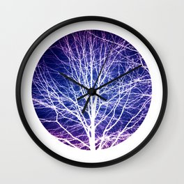 Surreal nature photography of a bare tree in purple and blue Wall Clock
