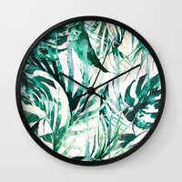 paradise Wall Clocks featuring Green Tropical paradise  by Nikkistrange