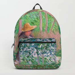 Claude Monet - In the Woods at Giverny, Blanche Hoschedé at Her Easel with Suzanne Hoschedé Reading Backpack