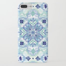 Navy Blue, Green & Cream Detailed Lace Doodle Pattern iPhone Case