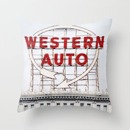 Western Auto Vintage Neon Sign Throw Pillow