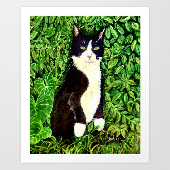 Kitty in the Woods Art Print