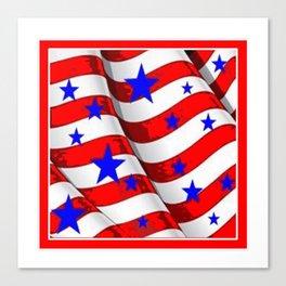 RED PATRIOTIC JULY 4TH BLUE STARS AMERICANA ART Canvas Print
