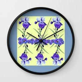 PURPLE WHITE IRIS & PANSIES GARDEN Wall Clock