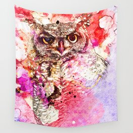 Watercolor Owl, Vintage Owl, Mixed Media Owl, Animal Owl, Bird Owl, Best Owl,Owl Print, Owl Painting Wall Tapestry