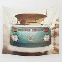 volkswagen Wall Tapestries featuring Volkswagen Bus by Briole Photography