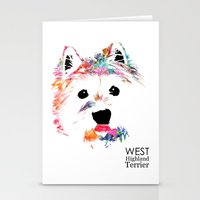 westie Stationery Cards featuring Max the Westie by free in the lines