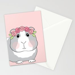 Adorable Grey Guinea Pig with Pink Rosebuds Stationery Cards