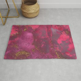 Pink and Gold Blush Rose Glitter Gemstone Marble Rug