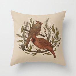Wintery Cardinals Throw Pillow
