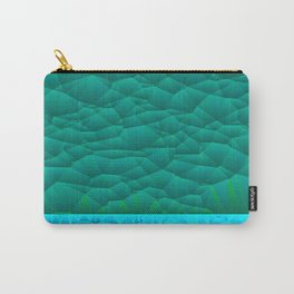 Quilted Sky Blue and Green Two Toned Pattern Carry-All Pouch