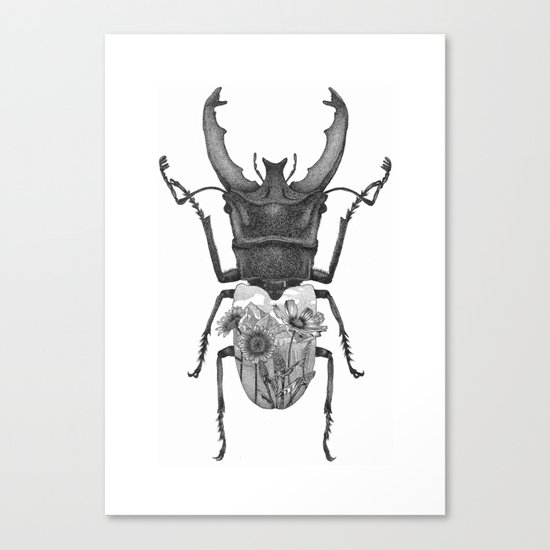Stag Beetle with Mountain Scene Canvas Print