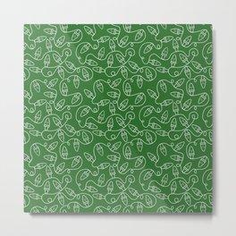 Seamless Christmas Lights (Green) Metal Print