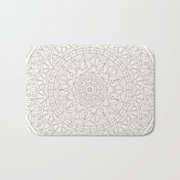Gray Circle of Life Mandala on White Bath Mat