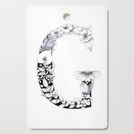 Floral Pen and Ink Letter G Cutting Board