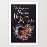 captain swan Art Prints featuring Captain Swan Magical Moments - Christmas Card by Svenja Gosen