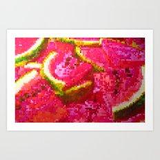Watermelon on pixel (watercolor) Art Print