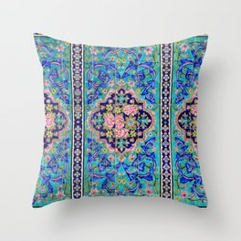 Turquoise Floral tile Throw Pillow