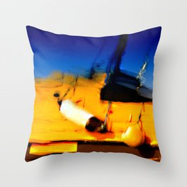 Smeared Boat Throw Pillow