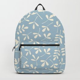 Cream on Blue Assorted Leaf Silhouettes Backpack