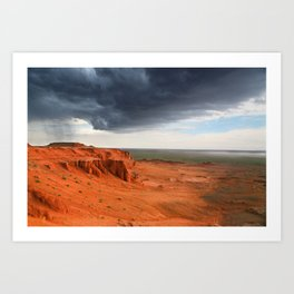 Storm at Bayanzag red sand cliffs, Mongolia Art Print